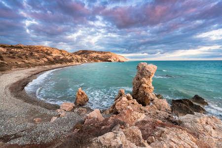 tou: Petra tou Romiou, the birthplace of Aphrodite. Winter evening. Paphos. Cyprus. Stock Photo