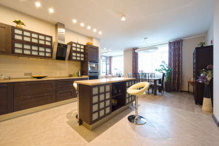 dining area: Modern elegant kitchen with dining area