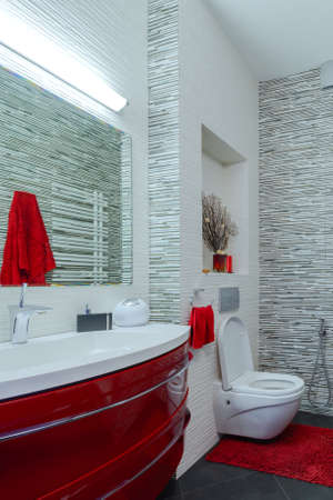 Interior beautiful bathroom in a modern style in gray and red tones Stock Photo