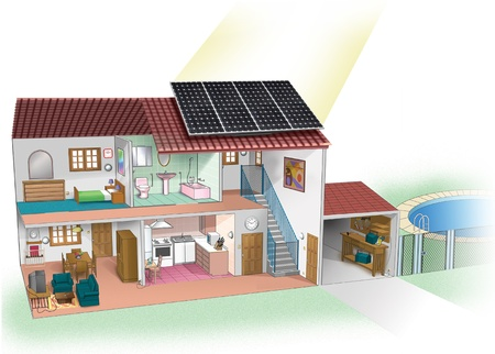 casa con placa solar Stock Photo