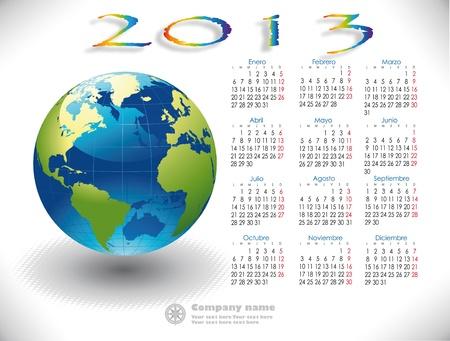 World Calendar 2013 Spanish version Stock Vector - 15789179