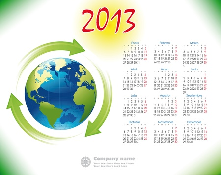 2013 Calendar reciclage Spanish version Illustration