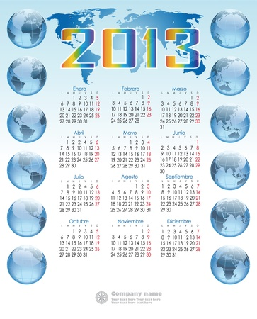 dos: Spanish calendar with 12 balloons globe