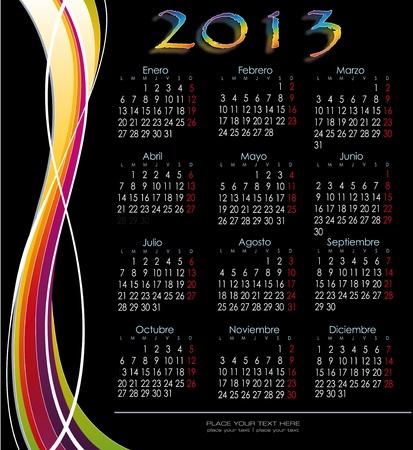 Decorative calendar 2013 Spanish version fringed decoration Stock Vector - 15789141