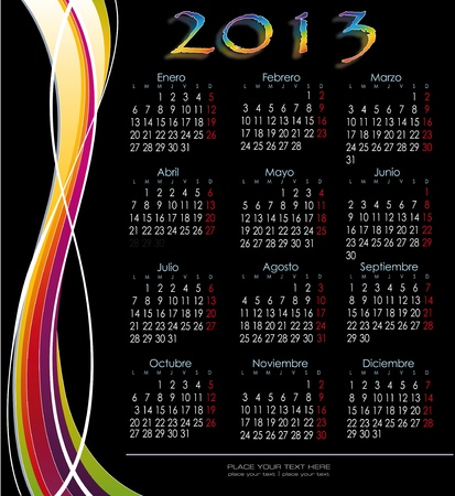 two thousand: Decorative calendar 2013 Spanish version fringed decoration Illustration