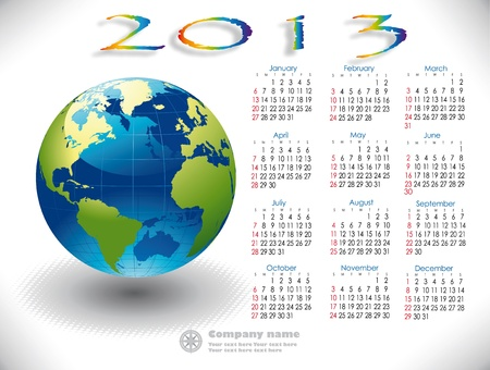 World Calendar 2013 English version Vector