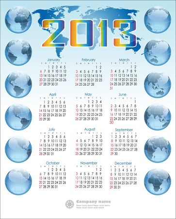 English calendar with 12 balloons globe