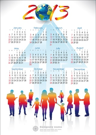 English version 2013 calendar with group of people working and arrow Ascending Order Vector