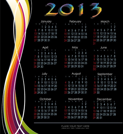Decorative calendar 2013 English version fringed decoration Vector