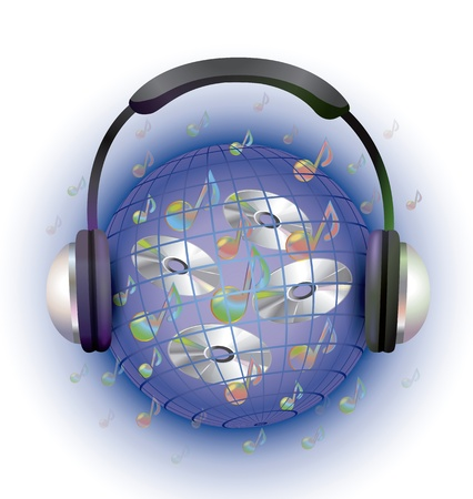Vector illustration of the world and together expanción music headphones that connect us and carry us through a world and space