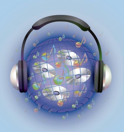 expanding: Ilustraci�n vectorial de un CD en el mundo de la m�sica, ampliando el espacio est� ocupado por los auriculares