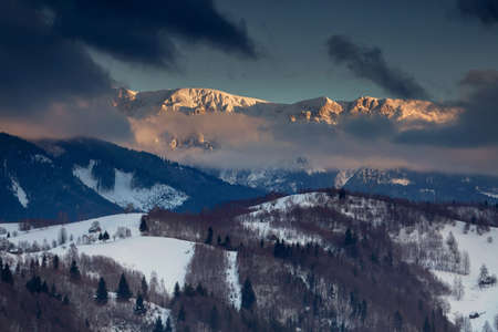 Beautiful winter sunset, in Bucegi mountains, Carpathians, Romania