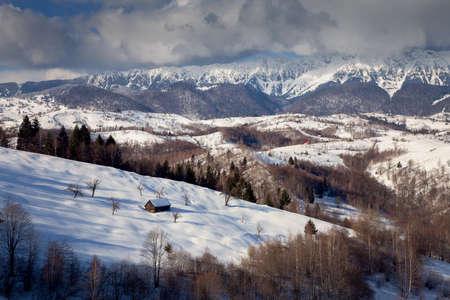 Winter mountain landscape in Transylvania