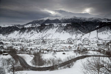 Beautiful mountain road in winter Stock Photo