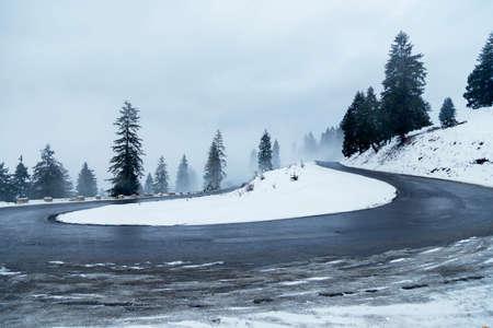 Beautiful winter landscape of the transylvanian village