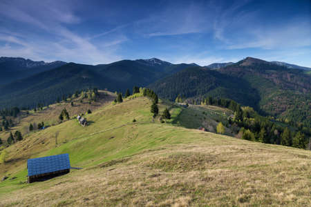 Spring landscape in the Carpathian Mountains Stock Photo