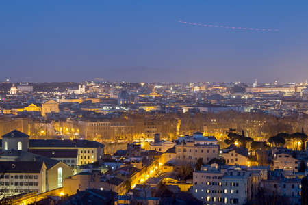 View of Rome, taken from gianicolo hill, at night