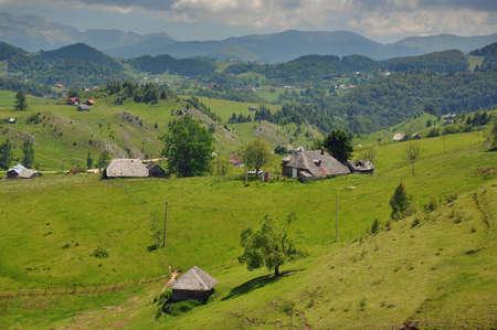 Summer landscape in the transylvanian hills, at Bran, Romania Stock Photo