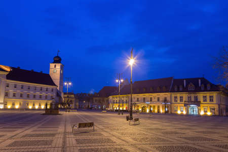 Historical center of Sibiu - Romania, at blue hour