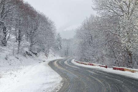 Winter snowfall in the Carpathian Mountains 版權商用圖片