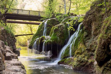 Beautiful mountain waterfall. Bigar waterfall Stock Photo