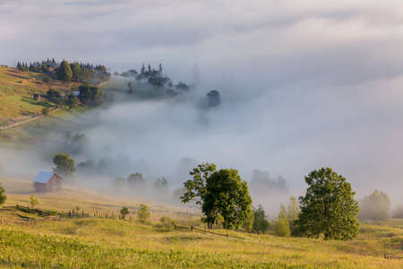 Summer sunrise landscape full of fog in Bucovina, Romania Stock fotó