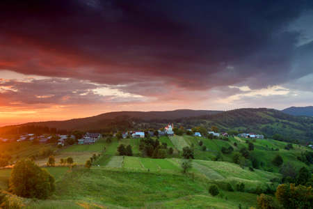 Bucovina, 루마니아의 여름 일출 풍경 스톡 콘텐츠 - 87802664