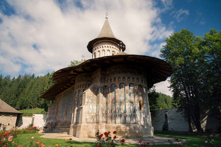 Voronet orthodox painted monastery, Bucovina, listed in UNESCOs list of World Heritage sites Stock fotó