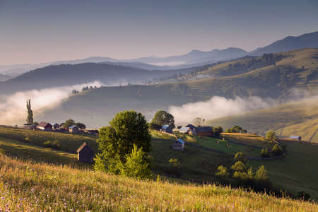 Summer sunrise landscape in Bucovina, Romania