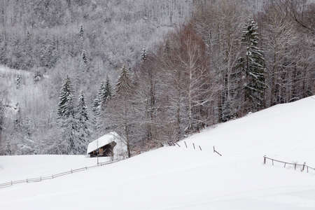 Winter landscape in Transylvania, Romania