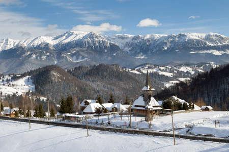 Winter landscape in Transylvania, Romania Zdjęcie Seryjne - 97485541