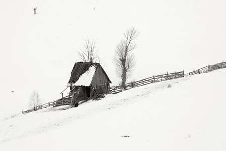 Rural landscape of the romanian sheepfold, at Sibiu county Фото со стока - 98718949