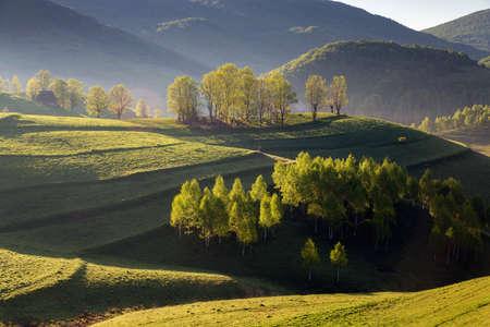 Beautiful summer sunrise in Transylvania Stock Photo
