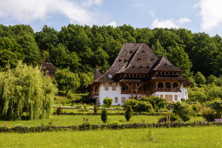 Summer view of Barsana Monastery - Romania - UNESCO World Heritage Site Stock fotó