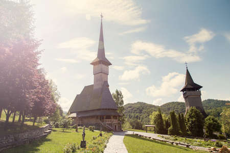 Summer view of Barsana Monastery - Romania Banco de Imagens