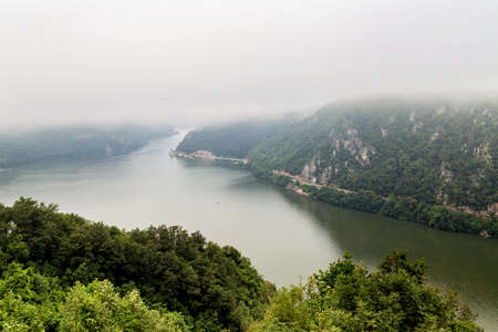 Summer landscape of Danube Gorge, at the border between Romania and Serbia. Mraconia orthodox monastery Stock Photo