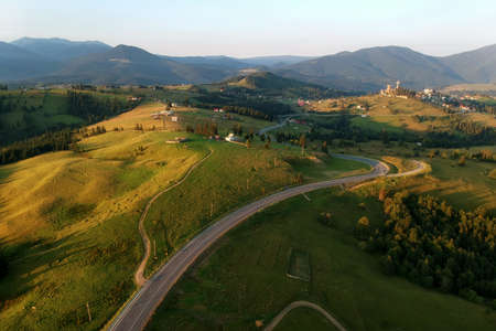 Aerial view of the mountain road, in BucovinaG