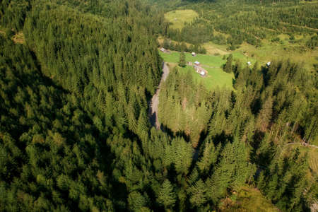 Aerial view of the mountain road, in Bucovina