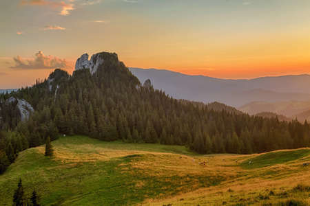 Summer landscape at sunrise, in Bucovina Imagens - 107258643