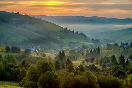 Summer landscape at sunrise, in Bucovina