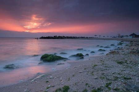 Beautiful sunrise at the Black Sea, Romania Redactioneel