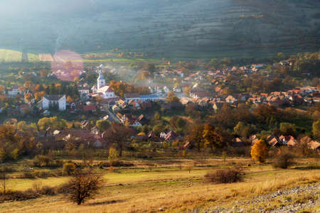 Autumn landscape of Rimetea village Stock fotó