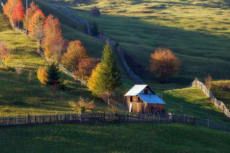 Beautiful landscape in autumn colors, at sunrise Stockfoto