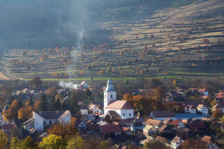 Autumn landscape of Rimetea village, Transylvania