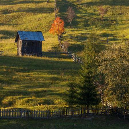 Beautiful landscape in autumn colors, at sunrise, in Transylvania Imagens