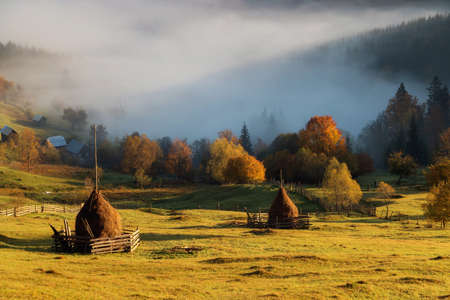 Foggy autumn morning above the traditional romanian cottages Foto de archivo - 116784256