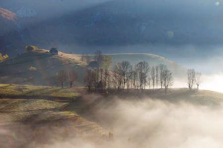 Beautiful landscape in autumn colors, at sunrise, in Transylvania Stockfoto