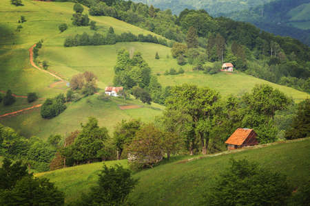 Beautiful summer green hills in Transylvania. Sunrise landscape in the Romanian mountain village