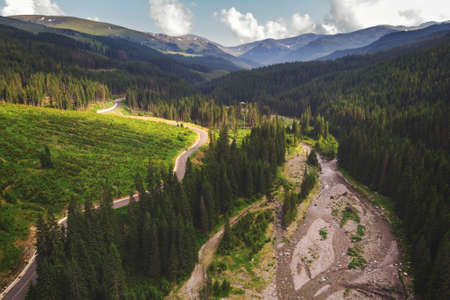 Aerial view of Transalpina mountain road, Romania