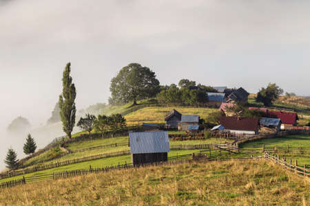 Summer landscape of the mountain village in Bucovina